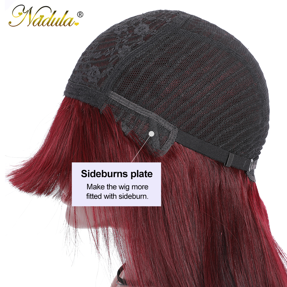 """Nadula Hair Wig #99J Straight Wig With Bangs  Wigs Pre Plucked Full Machine Wigs 18"""" 20"""" Straight Hair 5"""