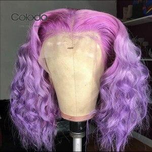 COLODO Ombre bleu perruque avec des racines noires 13x6 Ombre perruque de cheveux humains sans colle Remy brésilien violet avant de lacet perruques pour les femmes noires