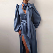 Summer Fashion Deep V-Neck Women Split Long Dress Elegant Button Lantern Sleeve Party Dress Solid Office Lady Split Long Dresses