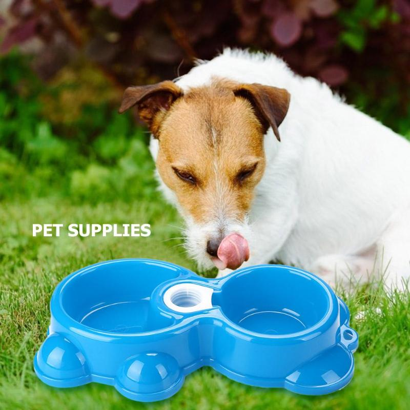 Plastic Dog Cat Drinking Bowl Double Basins Puppy Water Feeder Pet Tableware Necessary Household Pet Feeding Accessories