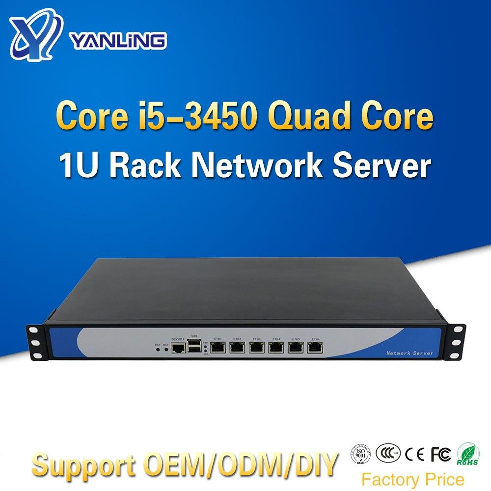 Yanling Ivy Bridge i5 3450 Quad Core 1U Rackmount Netzwerk Server mit 6 Intel Lan Barebone PC Firewall Router PfSense AES-NI