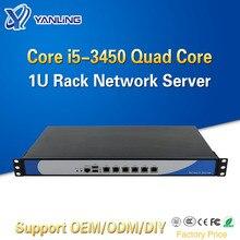 Yanling Ivy Bridge i5 3450 Quad Core 1U Rackmount Server di Rete con 6 Intel Lan Barebone PC Firewall Router PfSense AES NI