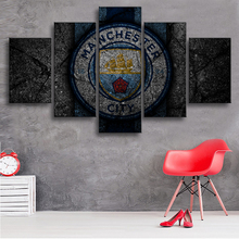 5 Pieces Premier League Manchester City Posters Football Canvas Paintings Wall Art Prints Pictures Boys Sports Decor Frame