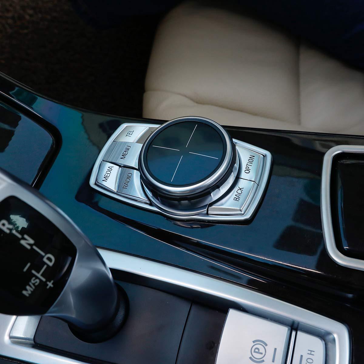 アルミ合金車マルチメディアボタンカバーノブフレーム装飾 Bmw の 5 シリーズ G30 G38 X3 G01 2018 (シルバー)