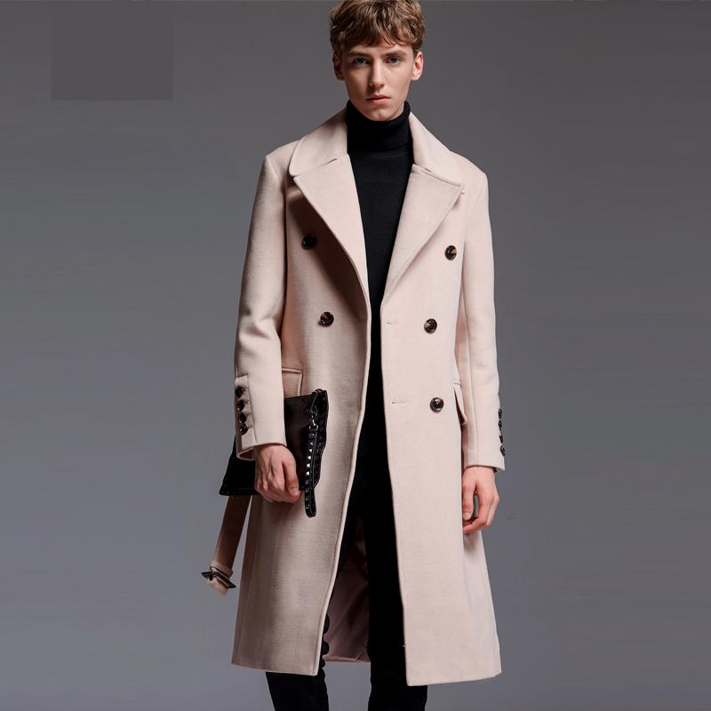 Style Wool Long Coat Autumn Winter Luxury Cashmere Solid Color Mens Jackets And Coats Plus Size 5XL 6XL Man Trench
