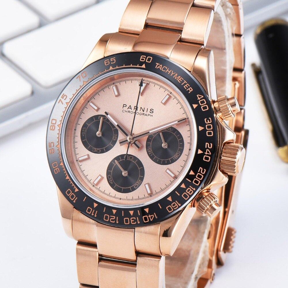 Parnis, 39 мм, кварцевые мужские часы с хронографом, золотые, браслет из нержавеющей стали, водонепроницаемые, сапфировое стекло, мужские часы