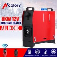 Tudo em um 8kw 12v diesels aquecedor de estacionamento ar novo aquecedor de estacionamento de controle remoto para carro caminhão ônibus barco rv vermelho/preto