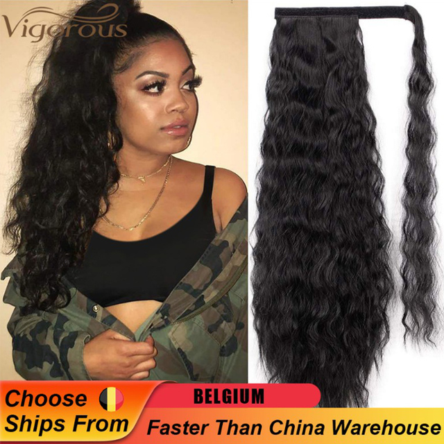 Vigorous Corn Wavy Long Ponytail Synthetic Hairpiece Wrap on Clip Hair Extensions Ombre Brown Pony Tail Blonde Fack Hair 1