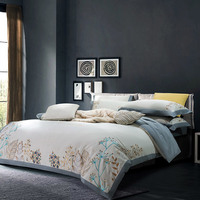 600TC Soft Warm Brushed Cotton Embroidery Bedding set Queen King size Elegent Grey Duvet/Quilt cover Bed sheet Fitted sheet Set