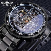 цена на WINNER Full Black Mechanical Watches Men Skeleton Stainless Steel Strap Rhinestone Diamond Case Classic Wristwatch Heren Horloge