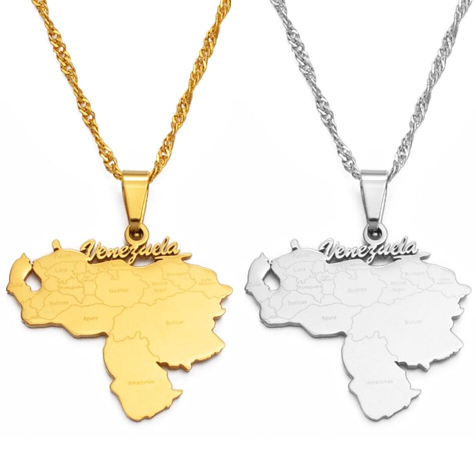 Новое Изделие Anniyo с подвеской в виде карты Венесуэлы, украшения из золота, ювелирные изделия из Венесуэлы #135721
