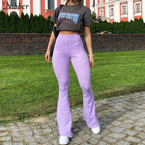 Nibber High Street Casual Solid Wide Leg Pants Women 2020 Autumn Fashion Office ladies loose Bottoms Slim Soft Elastic Pants