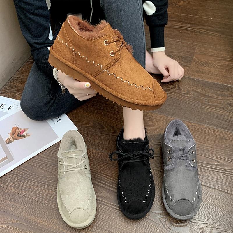 2019 New Snow Boots Female Short Tube Bread Cotton Shoes Women's Winter Plus Velvet Warm Fashion Casual Boots 44