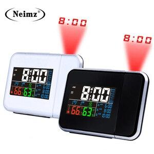 Image 2 - ไอเดียของขวัญที่มีสีสัน LED DIGITAL PROJECTION นาฬิกาปลุกอุณหภูมิเครื่องวัดอุณหภูมิความชื้นความชื้นโต๊ะโปรเจคเตอร์เวลาปฏิทิน
