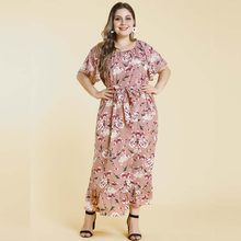 Pink Flower Party Dresses Women Short Flare Sleeve Floral Printed Sashes Ruffles Maxi Long Plus Size 3XL 4XL Ladies Dress Cloth(China)