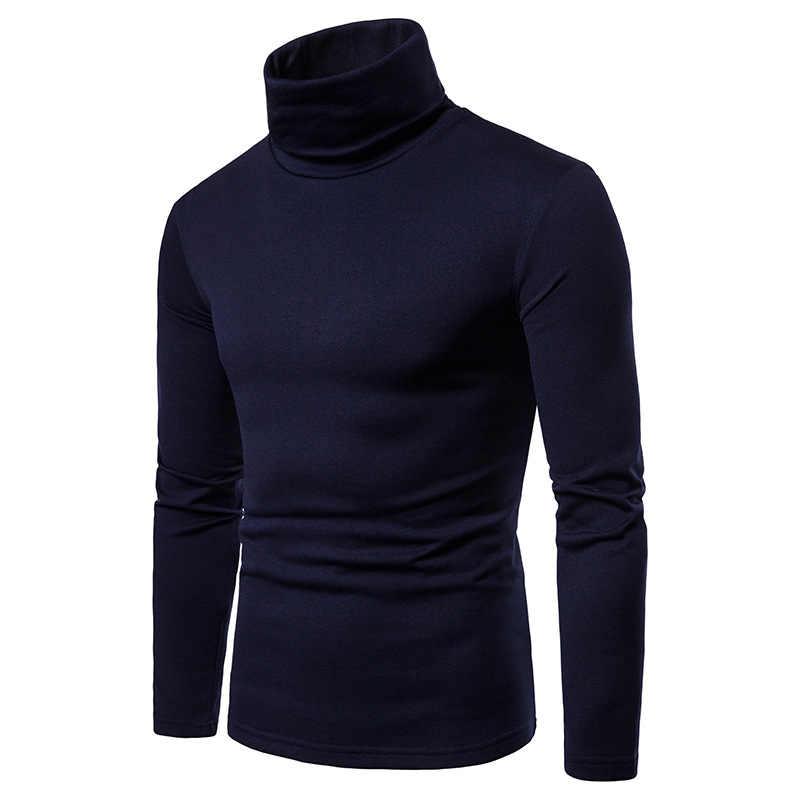 Herfst Lange Mouwen T-shirt Mannen Coltrui T-shirts Effen Kleur Casual Mode Harajuku Warm Coltrui T-shirts Voor Mannen Tjwlkj