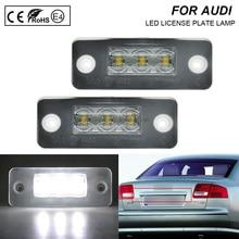 A Pair LED Number License Plate Lights Number Plate Holder Lamp No Error  For 2002-2010 Audi A8 D3