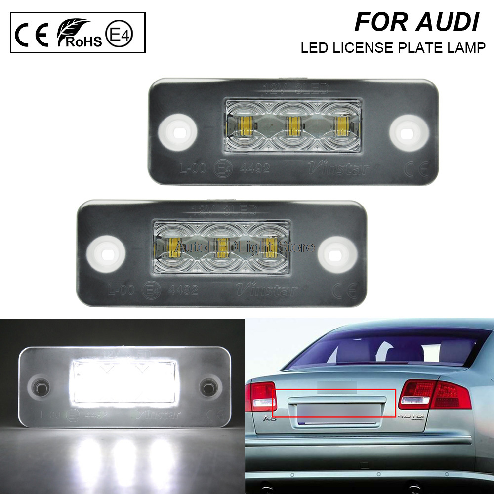 Un par de luces de LED para placa de matrícula lámpara de soporte de matrícula sin Error para Audi A8 D3 2002-2010