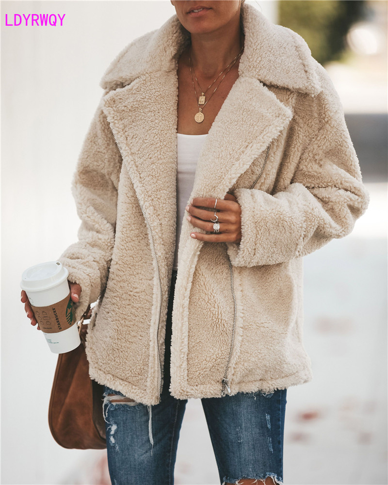 2019 autumn and winter European and American style fashion temperament lapel zipper long sleeved fleece jacket female in Wool amp Blends from Women 39 s Clothing