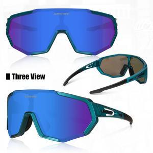 Image 2 - Queshark 2020新偏極サイクリング男女性バイク眼鏡サイクリングサングラス3レンズミラーUV400ゴーグルmtb QE48