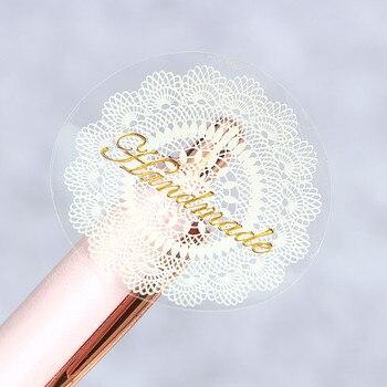 80 ชิ้น/ล็อตลูกไม้สีขาวซีลสติกเกอร์ตกแต่งสติกเกอร์โปร่งใส PVC มือของขวัญของขวัญสติกเกอร์ DIY ...