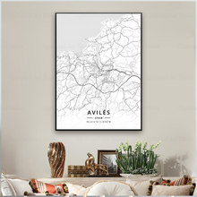 Palma aviles girona terrassa jerez leon espanha arte da lona mapa poster
