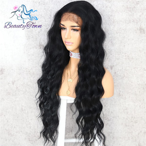 Image 2 - BeautyTown Black Color Body Wavy Silk Hair Halloween Holiday Women Wedding Party Daily Makeup Present Synthetic Lace Wigs