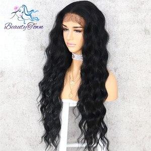 Image 2 - BeautyTown 黒ボディ波状シルク髪ハロウィンホリデー女性ウェディングパーティー毎日メイクプレゼント合成レースウィッグ