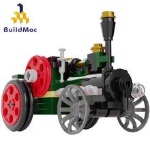 Buildmoc yapı taşları şehir Retro buhar LocomotiveTechnic makinesi otomobil araç Enlighten tuğla inşaat oyuncak hediye çocuk