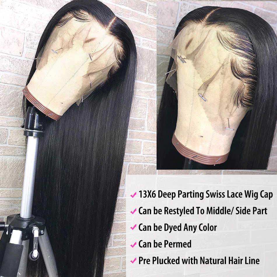 Luvin 250 ความหนาแน่น 28 30 40 นิ้วตรง 13X6 Glueless ลูกไม้ด้านหน้าด้านหน้ามนุษย์ Wigs สำหรับผู้หญิงบราซิลวิกผมด้านหน้าด้านหน้า Pre Plucked