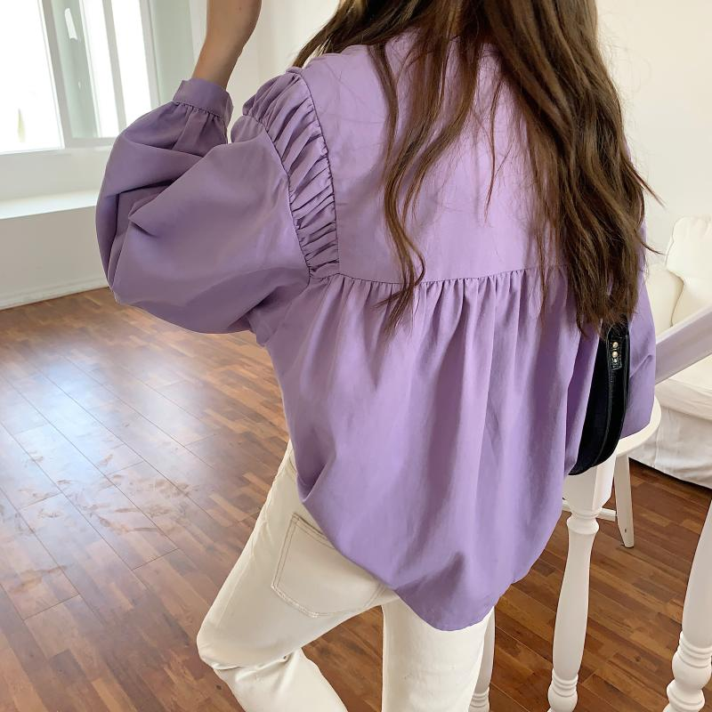 Ha92298dd15254c8594b94b9db3999e78x - Spring / Autumn Korean O-Neck Long Sleeves Pleated Solid Buttons Blouse