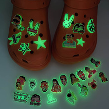 1 Pcs Glow in the Dark Croc Shoe Charms Bad Bunny PVC Shoes Accessories Rabbit Ornaments for Girl Gift Noctilucence Decorations