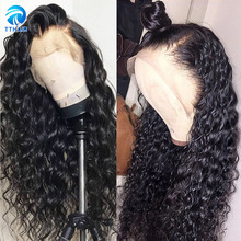 Wig 13x4 Lace Closure Human-Hair Lace-Front Deep-Wave 150-Density Loose Women Malaysian