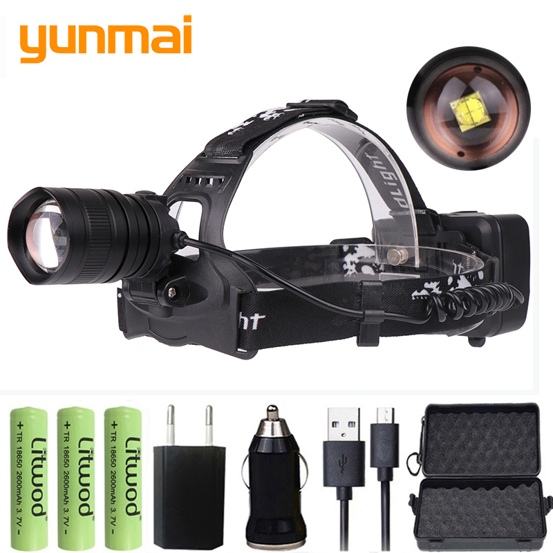 XHP70.2 LED Headlight 5000lm powerful headlamp zoomable flashlight torch Lantern power bank xhp50 led head lamp light 1