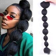 Hoge Bladerdeeg Afro Kinky Rechte Pruik Bubble Paardenstaart 30 Inch Trekkoord Paardenstaart Clipin Op Synthetisch Haar Broodje Extensions