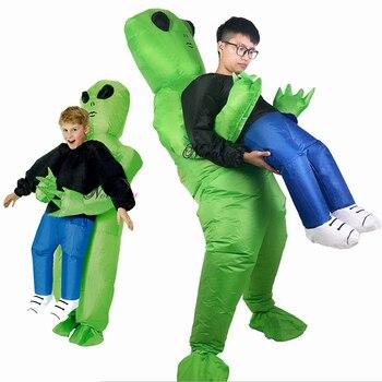 グリーンエイリアン運ぶ人間の大人インフレータブル衣装エイリアンマスコット衣装アニメコスプレ乗馬スーツの男の女性ハロウィン衣装