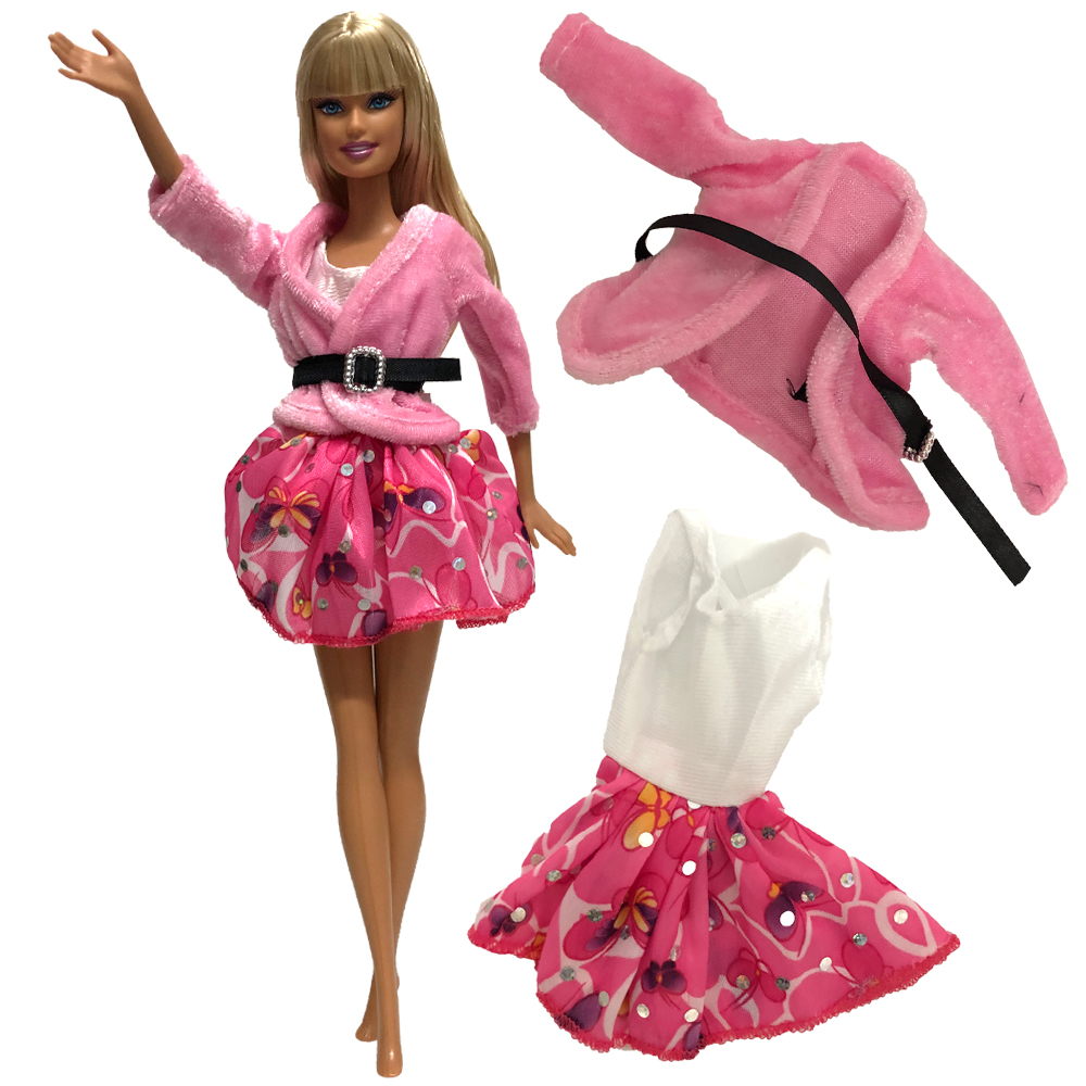 NK One Set Doll Dress Pink Coat+Dress Clothes Fashion Outfit For Barbie Noble Doll Best Child Toys Girls'Gift  277B 11X