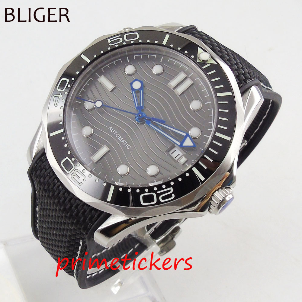 Mechanical men's watch 41mm gray dial sapphire glass black ceramic bezel  rubber strap date indicator