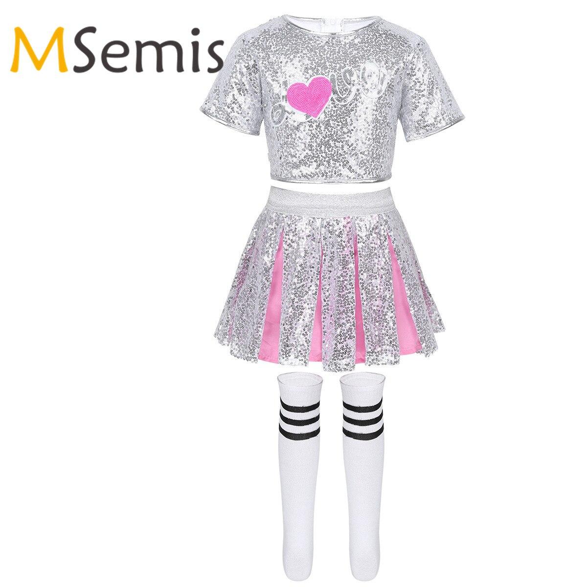 Kids Girls Cheerleader Costumes Outfit Sparkling Sequins Crop Top With Skirt Striped Socks Jazz Hip Hop Modern Dancewear Set