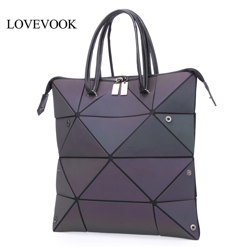 LOVEVOOK Women Handbags Luxury Shoulder Bags Designer 2019 Foldable Totes With Top-handle Large Capacity Geometric Luminous  Bag