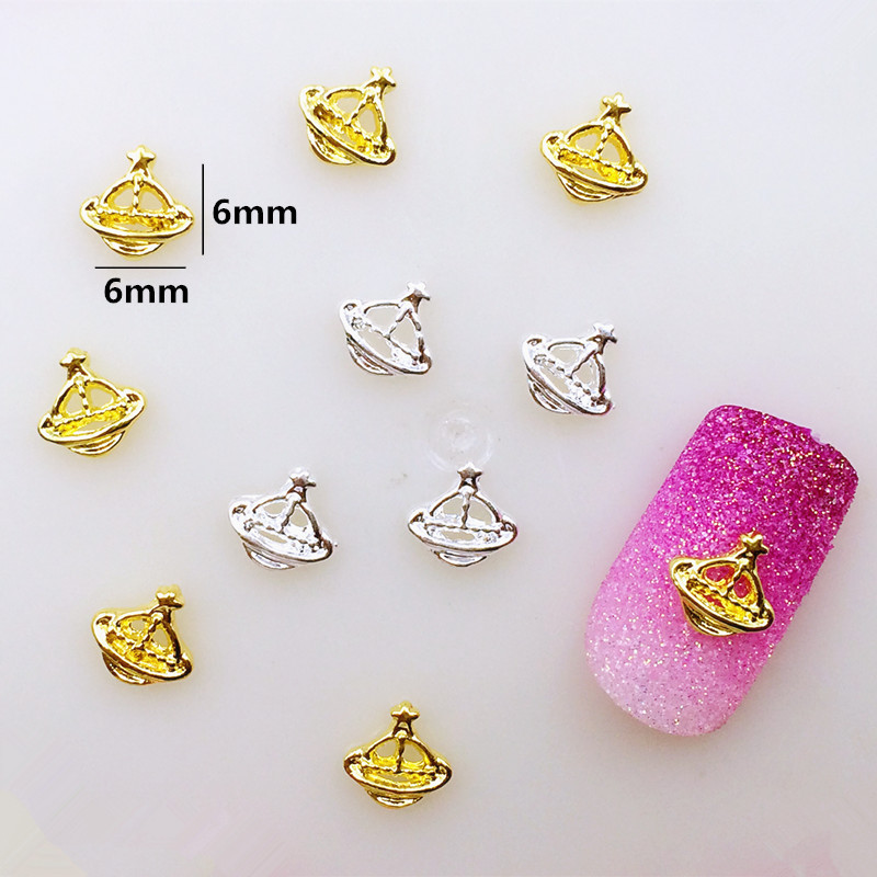 Nail Ornament Material Wholesale Japanese-style Popular DIY Hot Selling Metal Hollow Out Satur Planet Alloy Nail Sticker
