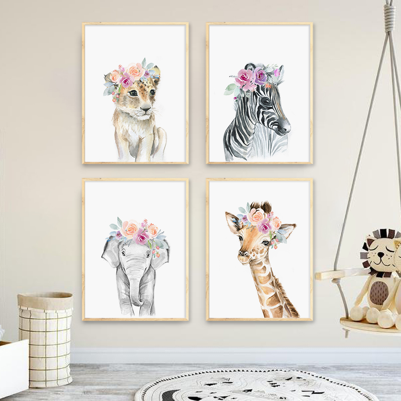 Настенный постер с изображением цветов, животных, Льва, зебры, слона, жирафа