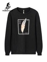 Pioneer Camp 100% ผ้าฝ้ายหนา Hoodies ผู้ชายฤดูหนาวพิมพ์สีดำสีเทา Outwear Outwear บุรุษคุณภาพสูงเสื้อผ้า AWY906348