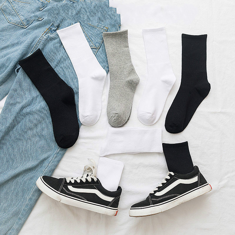 New Streetwear Solid Color Unisex Hip Hop Socks Women Black White Grey Vertical Bar Autumn Socks Cotton For Ladies 102702