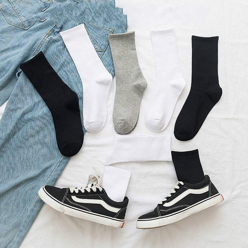 New Streetwear Solid Color Unisex Hip Hop   Socks   Women Black White Grey Vertical Bar Autumn   Socks   Cotton for Ladies 102702