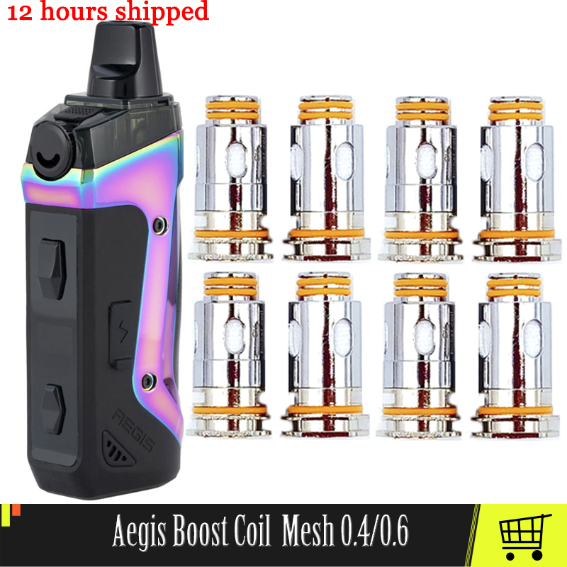 5pc Replacement Aegis Boost Coil Head Mesh 0.4 0.6ohm Vape Coils For Aegis Cartridge Pods Electronic Cigarette Core