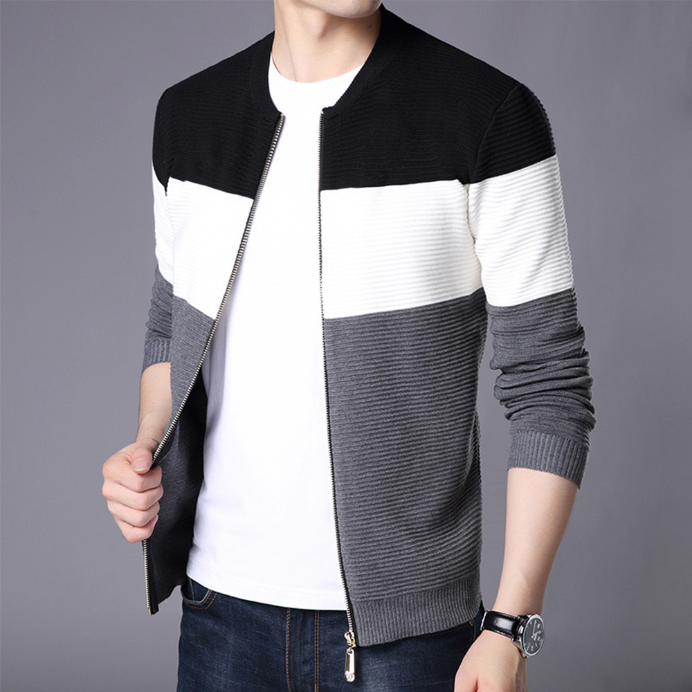 2020 Autumn Men New Casual Wool Cardigan Sweater Jumper Men Winter Fashion Striped Pockets Knit Outwear Coat Sweater Men