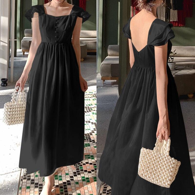 5XL летнее женское платье с оборками, богемное Платье макси с открытой спиной, повседневное женское платье с коротким рукавом, длинное платье Vestidos размера плюс|Платья|   | АлиЭкспресс