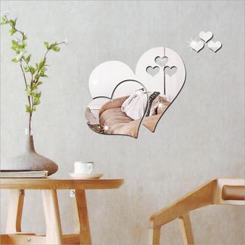 W kształcie serca 3D lustro naklejka ścienna Home Decor dekoracje DIY wymienny salon naklejka do pokoju sztuki ozdoby do domu tanie i dobre opinie Heart-shaped living room decoration mirror Szkło