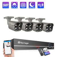 Techage 8CH 5MP POE NVR Security Camera System 2 way Audio IP Camera Indoor Outdoor HD CCTV Video Surveillance Kit AI detection